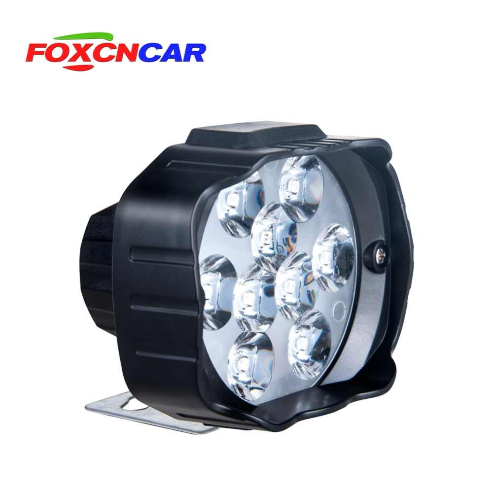 Foxcncar LED Motorcycle headlights 9 Chip 1000LM DC 12V 24V Canbus faros led moto Electric car Spotlight Hi Lo Beam Power saving