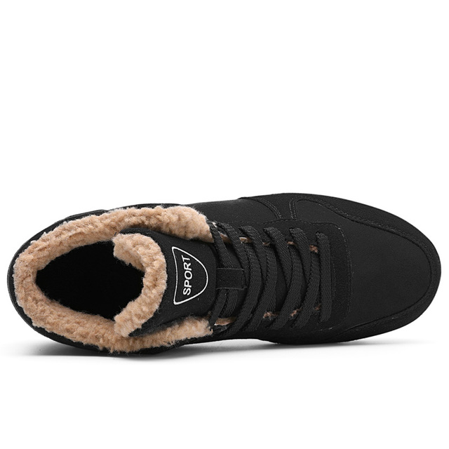 CcharmiX Big Size Men Shoes 2018 Top Fashion New Winter Casual Ankle Boots Warm Winter Fur Man Snow Boots Flock Leather Footwear 2
