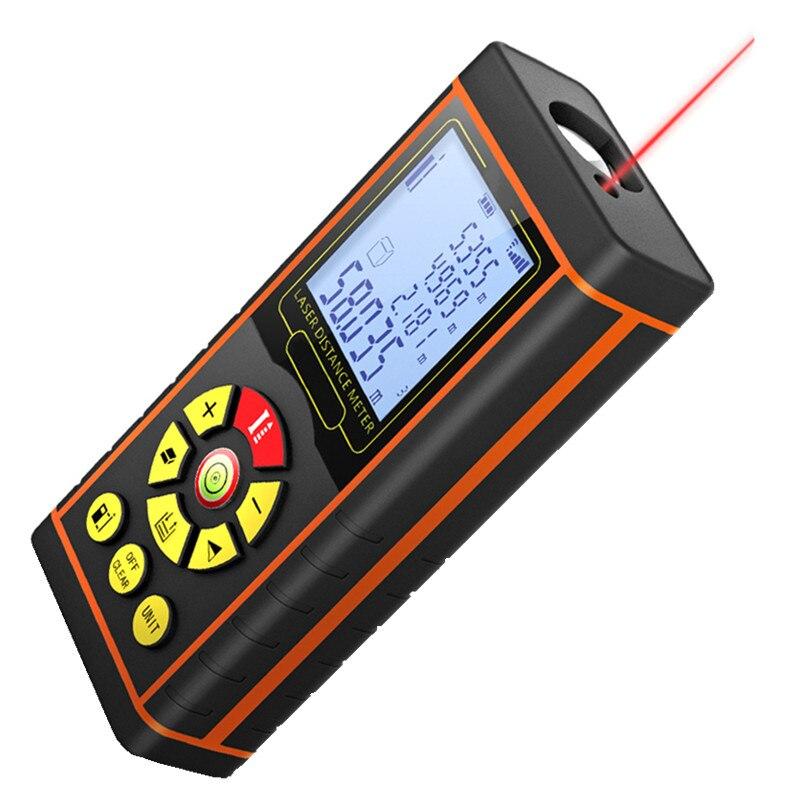 Цифровой лазерный дальномер 9 Пуговицы электронный лазерный дальномер пузырьковый уровень