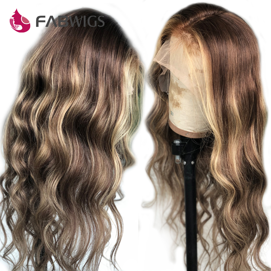 Fabwigs 150 Density Highlight Ombre Blonde Full Lace Human Hair Wigs Transparent Lace Wigs Pre Plucked