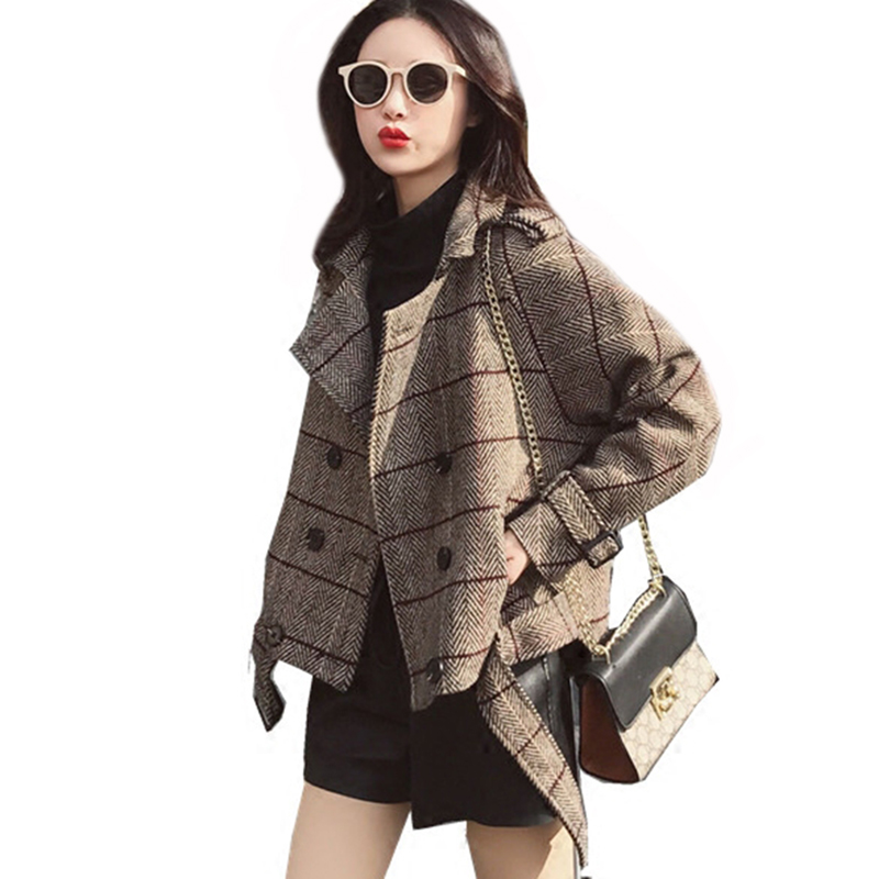 Women Wool Blends 2018 New Fashion Elegant Plaid Double Breasted Overcoat Female Autumn Winter Short Coat