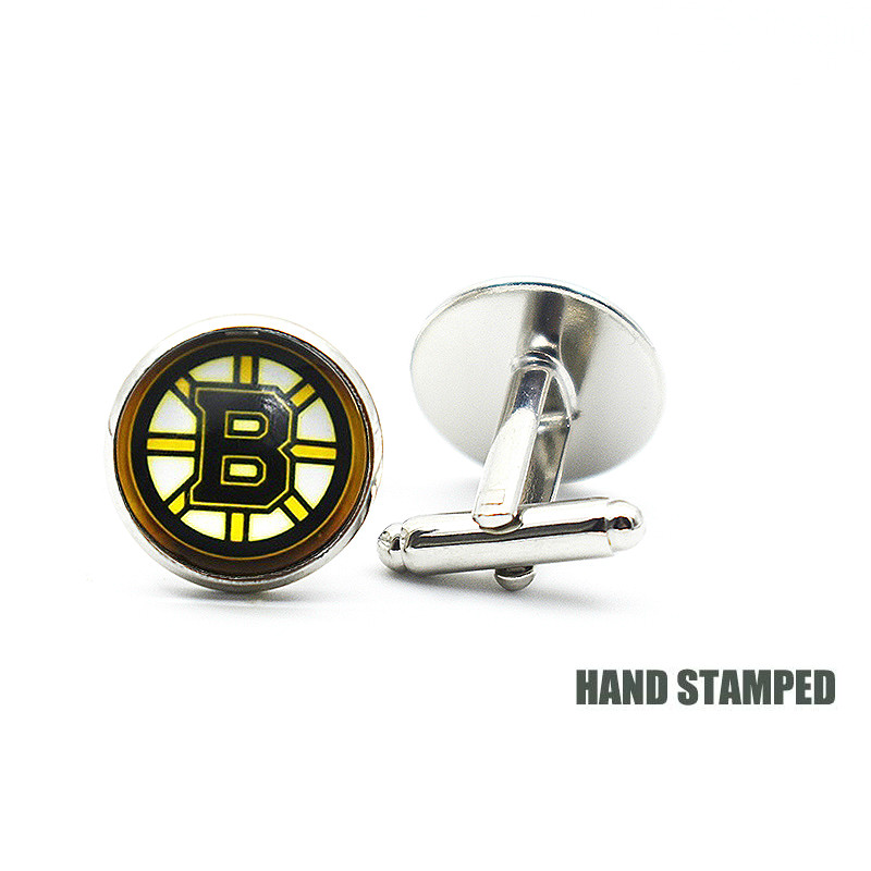 16MM A Boston Bruins Jewelry Cufflinks Metal Copper Sports Team Puck Glass Cufflinks A Copper Cufflinks