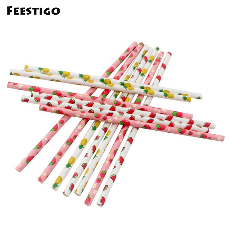 Feestigo 100pcs Paper Fruit Disposable Drinking Straws For Luaru Hawaii Pool Birthday Wedding Baby Shower Summer Party Decor