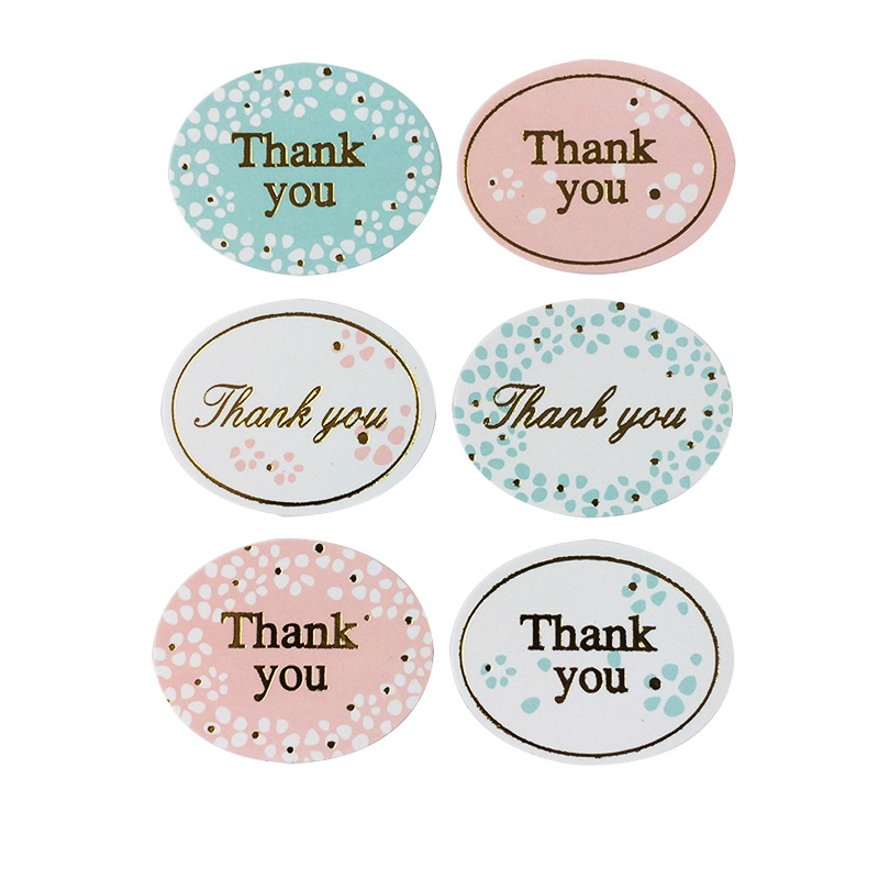 120pcs Thank you Ellipse Seal package label sticker For handmade bakery cake biscuit products