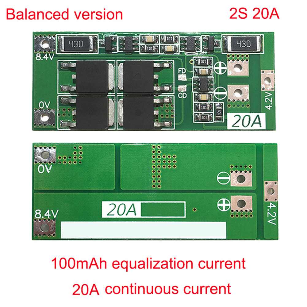 Protection Board BMS Board Balance / Standard Type <font><b>2S</b></font> <font><b>20A</b></font> <font><b>7.4V</b></font> 8.4V 18650 Lithium Battery image