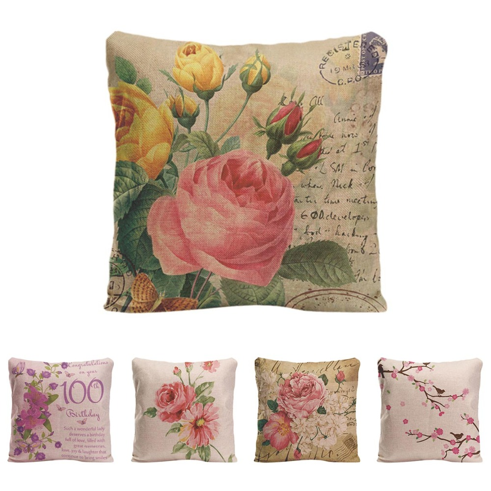 Beautiful Flower Cushion Cover Decorative Pillow For Sofa Car Covers Rose  Peony Linen Pillow Case Birds