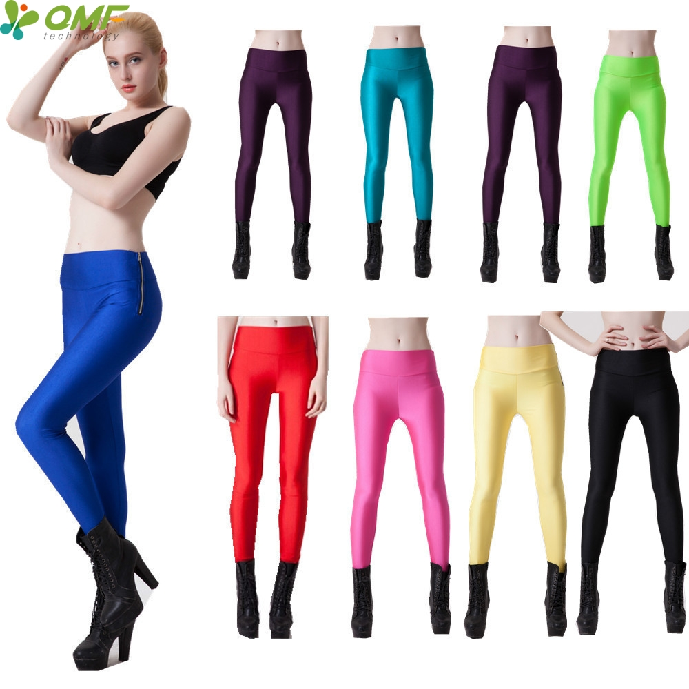 Candy Color Womens Running Tights Sexy Slim Fit Fluorescent Compression Yoga Leggings Sports Elastic High Waist Fitness Gym Pant
