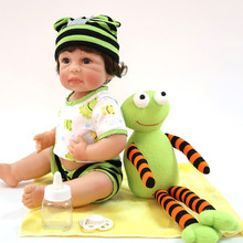 40cm Bebe Doll Reborn Realistic Newborn Doll Gift with cute Green hat For boy Birthday Reborn Doll for Girls Full Silicone Toys 22 inch baby reborn doll toys full body soft silicone vinyl non toxic safe realistic bebe newborn doll toys best gift for girls