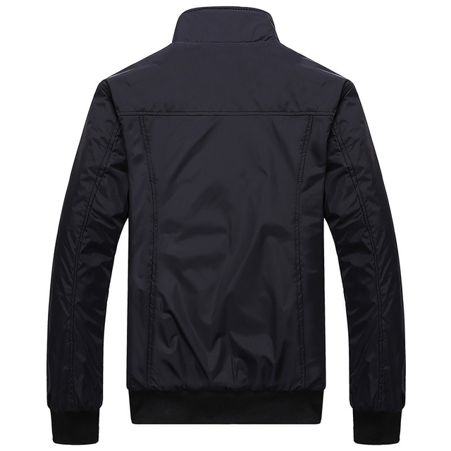 Mens Sportswear Slim Jacket Casual Coats Solid Color Stand Collar 34