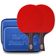 New 2 rackets 2 racket case Double Fish Red-Black Carbon fiber Table tennis racket paddle ITTF approved rubber loop fast attack цена и фото
