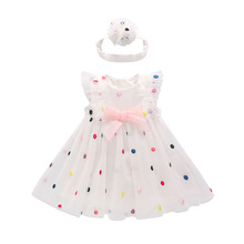 Children Clothing 2019 New Baby Girls Princess Dress Summer Thin Clothes Dress + Headband Lace Dress Girls Cute Colorful Gown cotton lace girl dress kids 2017 summer new embroidered children clothes white lace princess korean cute thin dress size 100 140