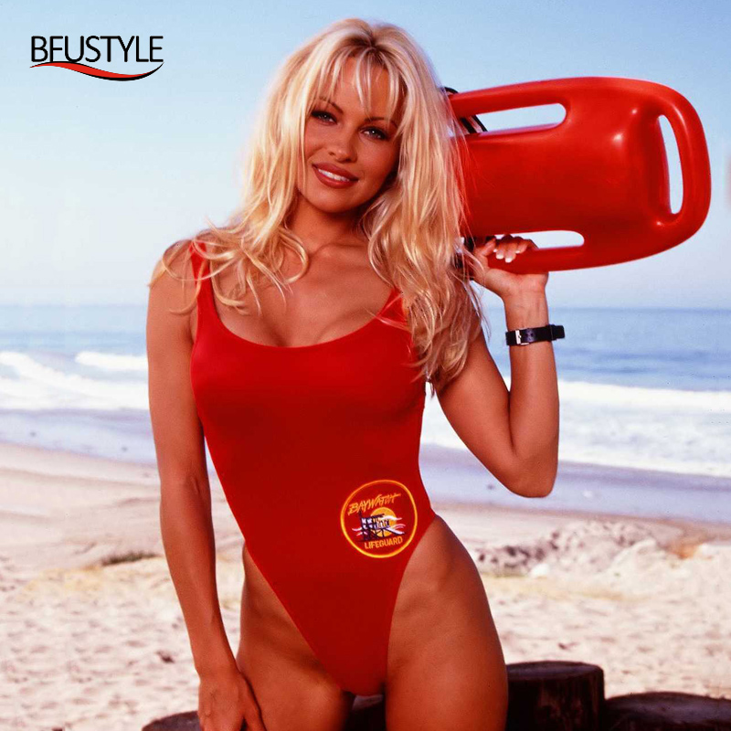 BFUSTYLE Classic USA BAYWATCH Swimsuit Әйелдер Sexy Red Bathing Suit One Piece Bather Swimwear Thong Swimming Suits