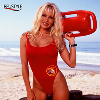 BFUSTYLE Newest USA BAYWATCH Swimsuit Women Sexy Red Bathing Suit One Piece Bather Swimwear Thong Swimming