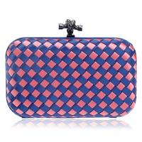 Women Clutch Weave Snap Clasp Hard Box Handbag Casual Crossbody Bag Multicolor Purse With Strap L178