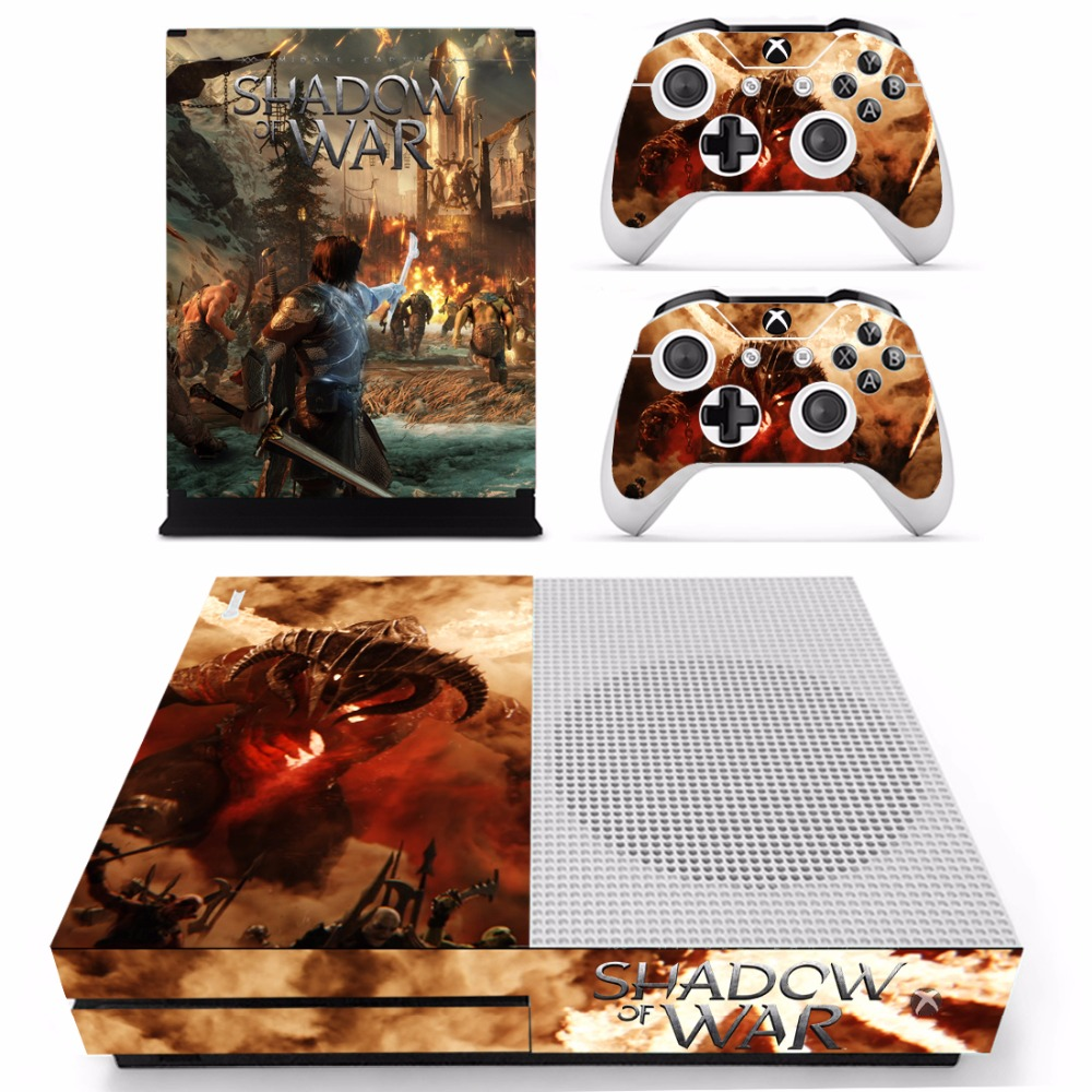 Game Shadow of War Skin Sticker Decal For Microsoft Xbox One S Console and 2 Controllers For Xbox One S Skins Sticker Vinyl