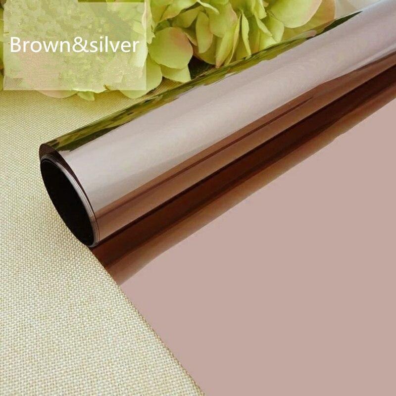 1,52x15 м один рулон коричневый и серебряный зеркальный Солнечный Светоотражающая пленка для окон односторонний оттенок конфиденциальности стикер