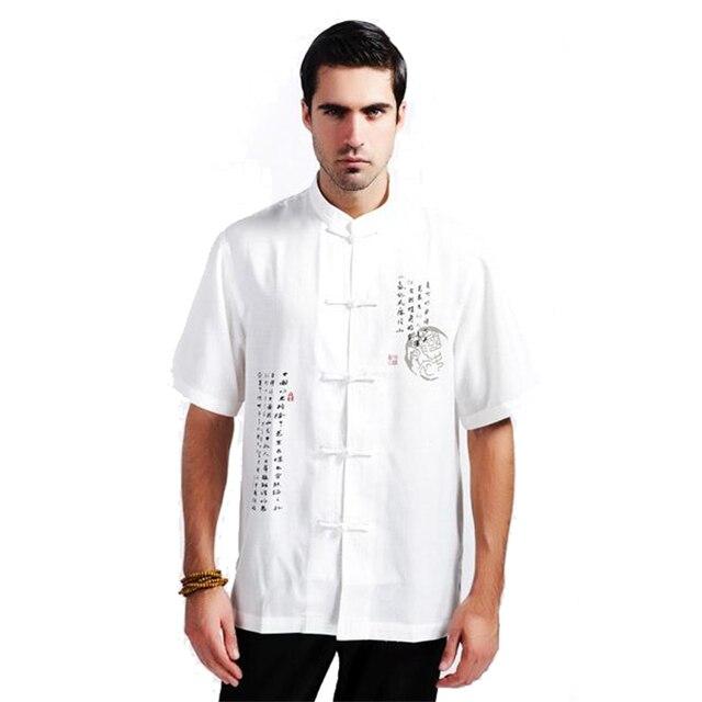 Белый китайский стиль хлопок льняная рубашка с коротким рукавом традиционный кунг-фу топы старинные тотем ml XL XXL XXXL MS075