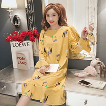 5dbe132002 Cartoon Night Dress Women Sleepwear Plus Size Long Sleeve Nightwear Kawaii  Women Nightgown Homewear Nightie Sleepshirts
