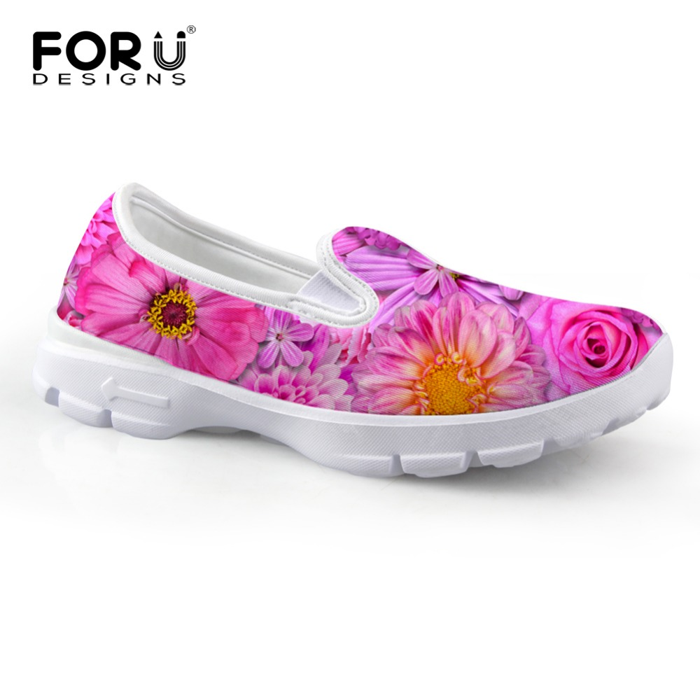 FORUDESIGNS Fashion Floral Printed Women Flat Shoes Spring Summer Breathable Mesh Slip-on Boat Shoes Casual Female Soft Loafers