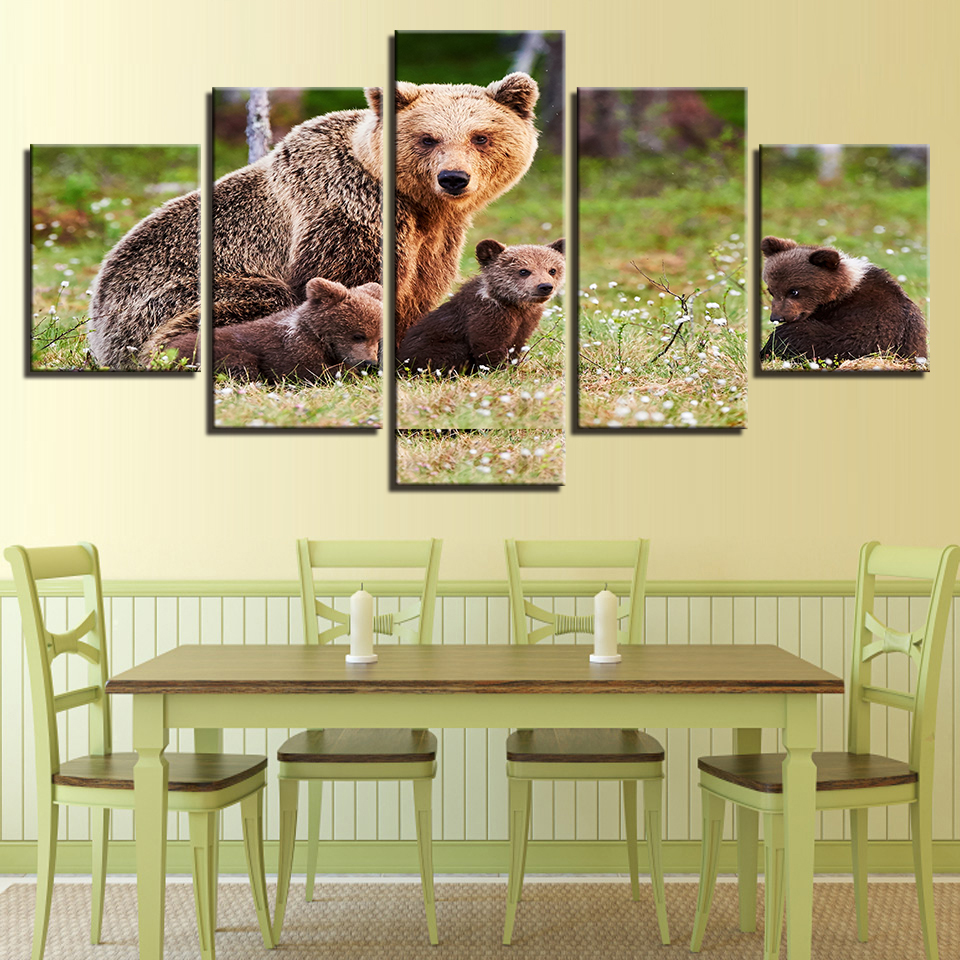 Wall Art Canvas Prints Pictures Home Decor Framework 5 Pieces Animal ...