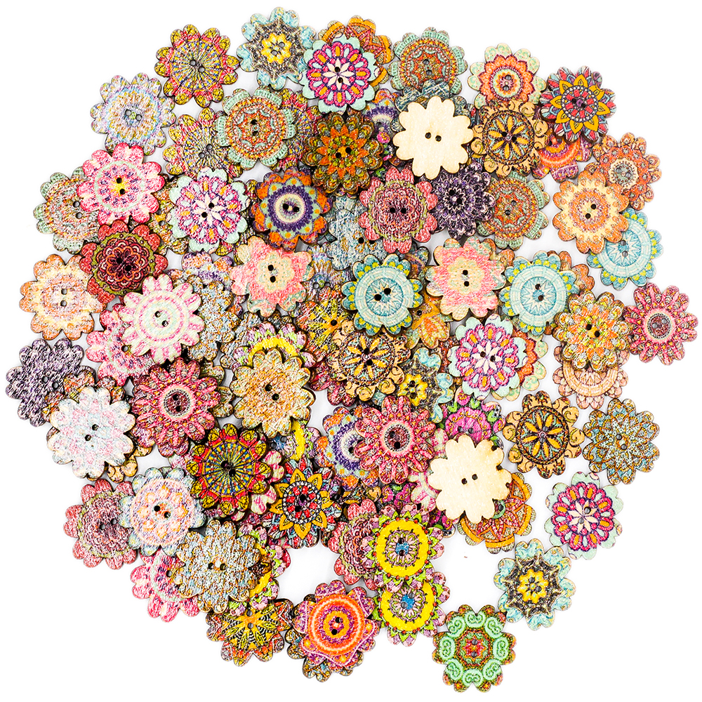 100 Pcs Mixed Vintage Colorful Flowers Wood Buttons Scrapbooking Sewing Craft For DIY Baby Children Clothing Sewing Accessories