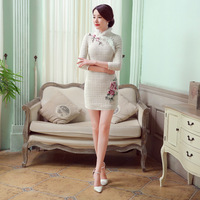 New Arrival Vintage Women S Wool Rabbit Mini Cheongsam Fashion Chinese Style Dress Autumn Winter Qipao