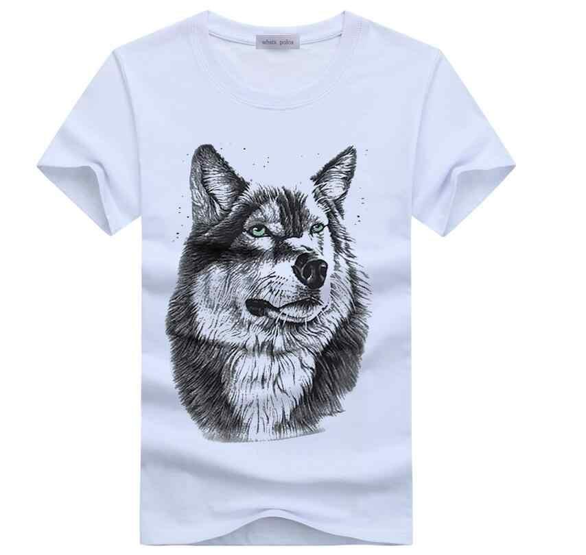 男性の夏の服 Tシャツホワイト tシャツカジュアル綿ウルフプリントの漫画半袖 Tシャツ男性ブランド Tシャツシャツ 5XL