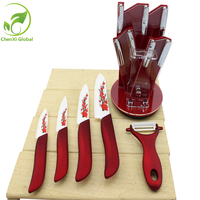 Exquisite Red Ceramic Knife Sets Kitchen Accessaries Tools Friendly Plastic Handle And Ceramic Sharp Paring Knife