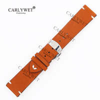 CARLYWET 20 22 24mm Real Calf Leather Suede Brown VINTAGE Replacement Wrist Watch Band Strap Belt