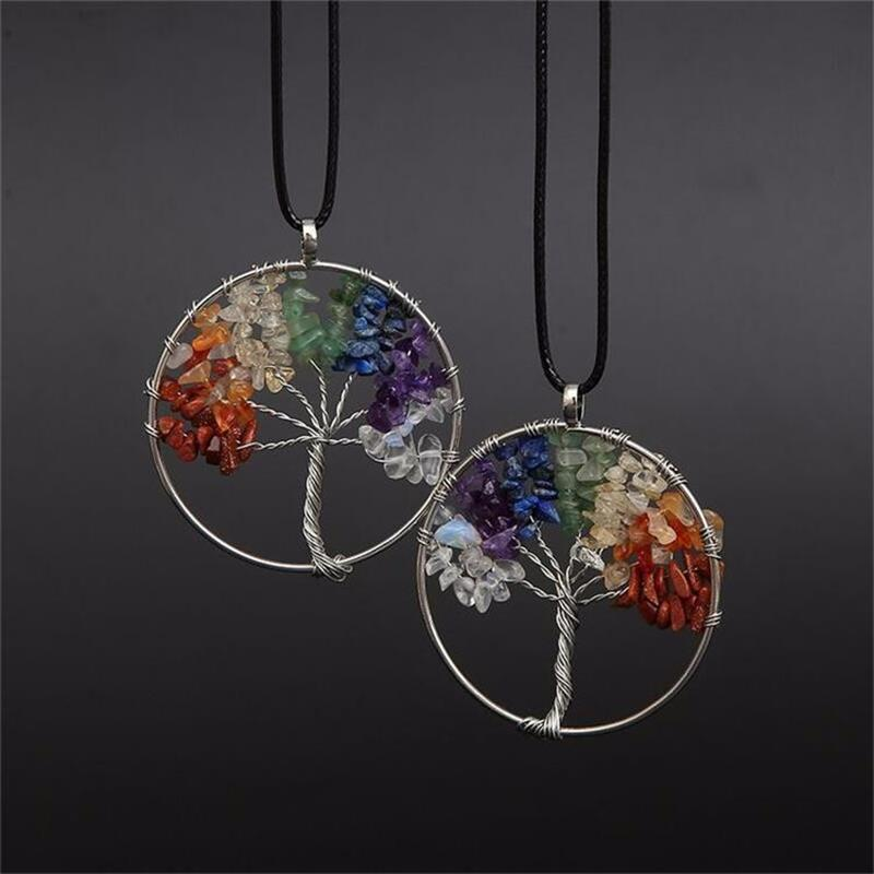 Women Rainbow 7 Chakra Tree Of Life Pendant Necklace Multicolor Quartz Wisdom Tree Natural Stone Necklace Bead Women Jewelry