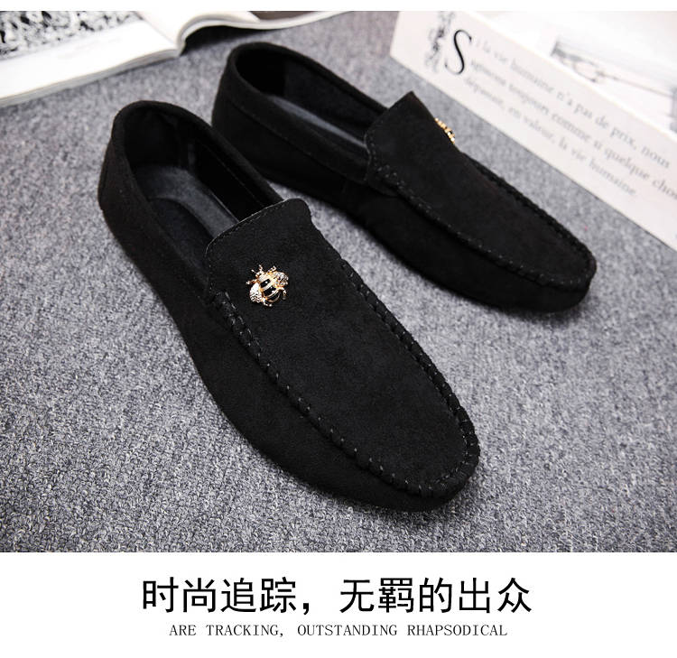Juyouki Natural Cow Suede Bees Men's Casual Shoes Alligator Style Men Loafers Slip on Lazy Shoes Wiht Male Outdoor Shoes 15