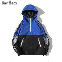 Una Reta Hooded Jackets Men 2018 New Patchwork Color Block Pullover Jacket Fashion Tracksuit Casual Coat Men Hip Hop Streetwear