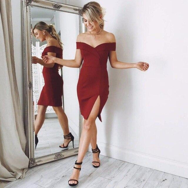 b75579c000a9a Wholesale Ladies Summer Dress Women 2018 Black Red White Off Shoulder  Bandage Dress Sexy Mini Split