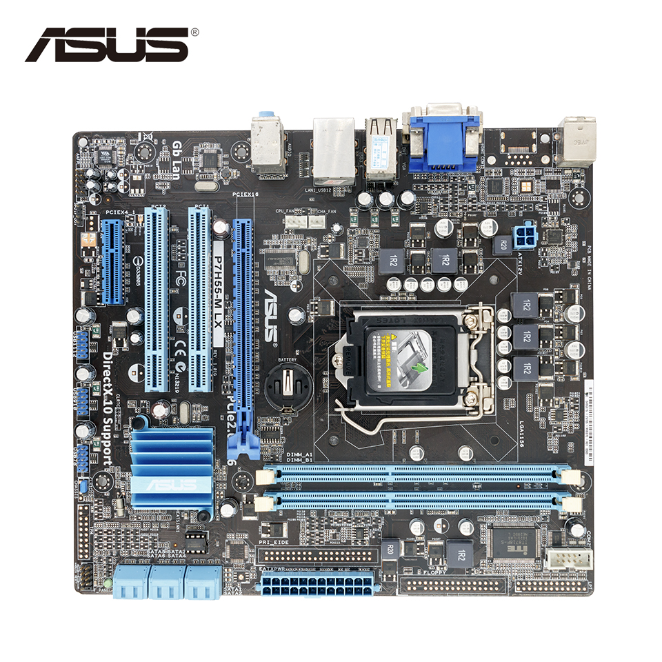 Asus P7H55-M LX Desktop Motherboard H55 Socket LGA 1156 i3 i5 i7 DDR3 uATX On Sale asus p8b75 m lx desktop motherboard b75 socket lga 1155 i3 i5 i7 ddr3 16g uatx uefi bios original used mainboard on sale