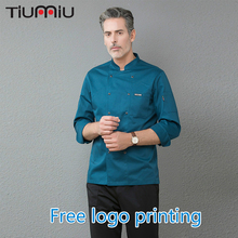 Free Logo Printing Long Sleeve Chef Coat Jacket Men Women Cooking Wear Cozinha Uniform Restaurant Kitchen Work Coffee Cake Shop free shipping work wear set male tooling uniform customize lf 102 long sleeve mechanic jacket and engineer jacket page 2