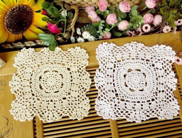 Crochet cuadrado 20 cm placemat algodón coasters almohadillas de ...