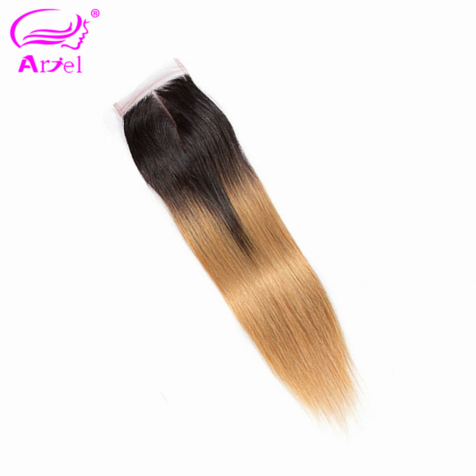ARIEL Remy Human-Hair Lace Closure Ombre Middle/three-Part Colored Straight Peruvian