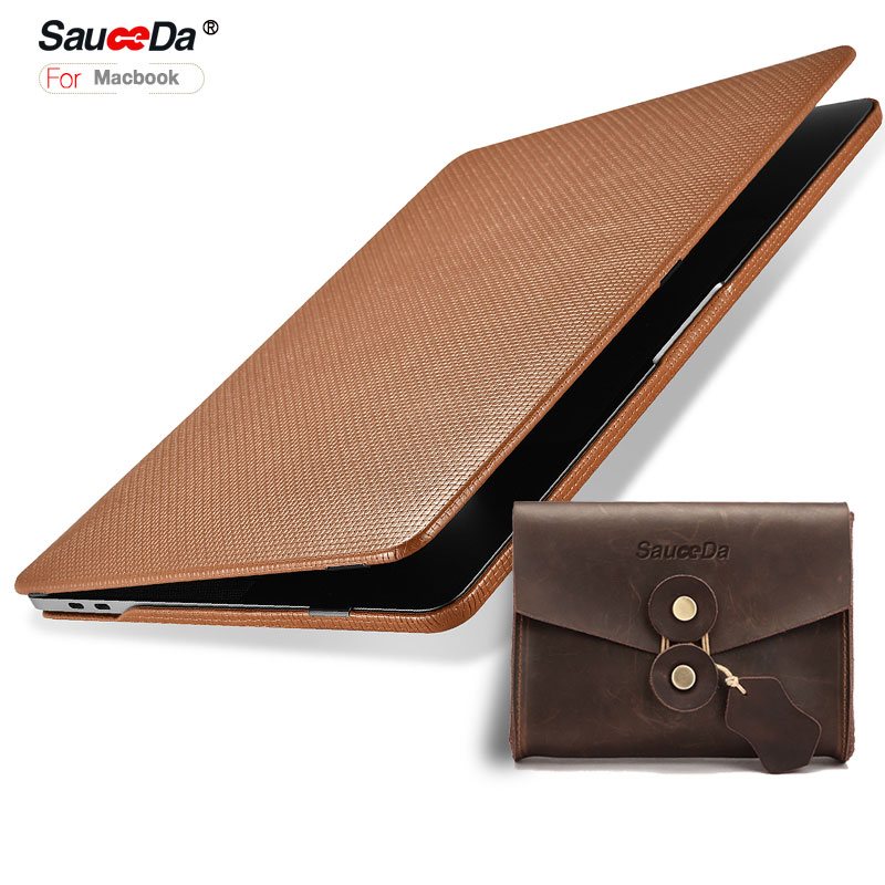 For macbook pro 15 case Laptop cover Woven Pattern genuine leather Case for macbook pro15 inch laptop Sleeve with mouse pouch original a1706 a1708 lcd back cover for macbook pro13 2016 a1706 a1708 laptop replacement