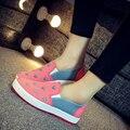 Женщина милые сердцу печатных плоские туфли леди весна и осень уличной обуви подросток девушка удобная ткань обувь sapatos femininas