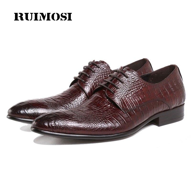 RUIMOSI Top Quality Man Formal Dress Shoes Genuine Leather Crocodile Male Oxfords Luxury Brand Men's Wedding Bridal Flats DF17