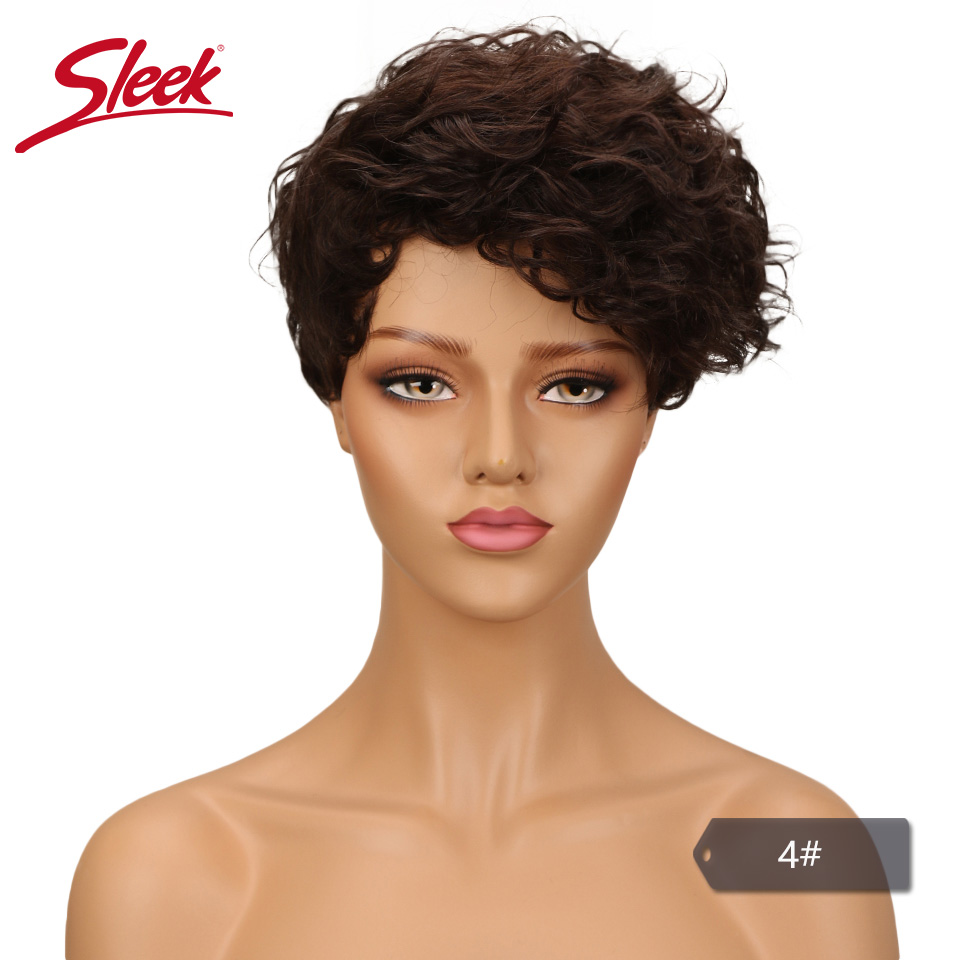 SLEEK Short Human Hair Wigs For Black Women Brazilian Curly Human Hair Wig Non Lace Wig Pixie Cut Ombre Wig Free Shipping