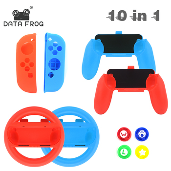 DATA FROG 10 in 1 Grip Joypad Stand Case For Nintend Switch Joy Con Controller With Steer Wheel Handle For Switch Game Console