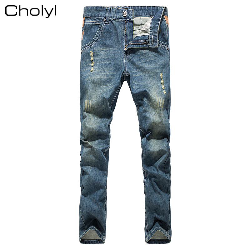 2017 high quality Retro Teenage Men Jeans Slim Straight Pants Spring and summer Casual Loose Pants CHOLYL Brand biker jeans
