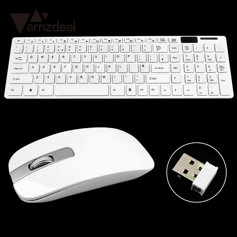 AMZDEAL Optical Wireless Keyboard and Mouse Combo Ultra Thin 2.4G Wireless Keyboard and Cordless Mouse Kits for Laptop Desktop ultra thin wireless mouse and keyboard set home office keyboard for imac 21 5 27 all in one desktop for macbook pro air