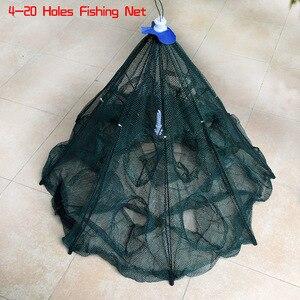 Image 5 - 最新の 4 20 穴自動折りたたみ漁網エビケージナイロン折りたたみカニ魚トラップキャストネットキャスト折りたたみ釣りネットワーク