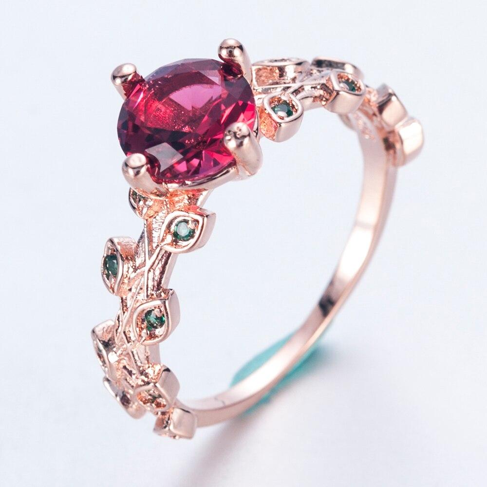 1 шт. розовое цветочное Кольцо великолепный однотонный цвет розовое золото Круглый Красный кубический циркон зеленый лист Женские коктейльные кольца для свадьбы для женщин Anillo