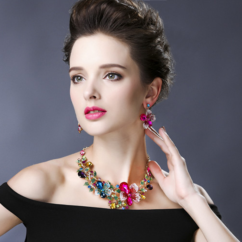 Ztech High Quality Romantic Women Wedding Party Fashion Bridal Jewelry Sets Statement Necklace And Earring Trendy Accessories