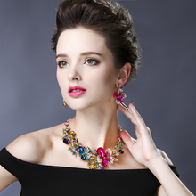 Earring Bridal-Jewelry-Sets Statement-Necklace Romantic Wedding-Party Fashion Trendy-Accessories