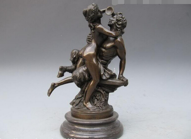 Greek Myth Pan And Nude Woman Drink Pure Bronze Statue Copper Garden  Decoration