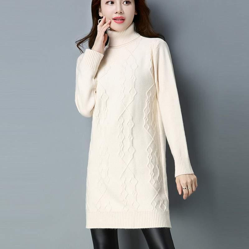 Haut white Robe Chaud Hiver Lady purple Robes Mode caramel Col Long Ly402 black Colour Moyen Pull Automne Camel Femmes Lâche gray 2019 Tricot dt8IqTtx